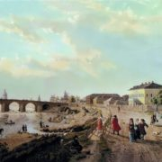 View of the Stone Bridge in Moscow with a wooden bridge near the Vodovzvodnaya Tower. Early 1800