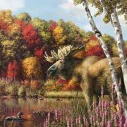 Beautiful landscape with moose