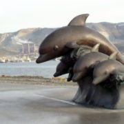 Monument to dolphins in Novorossiysk, Russia