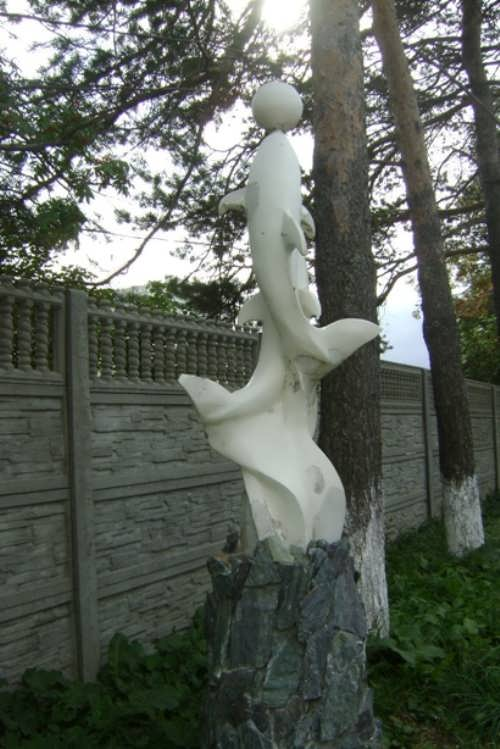 Monument to dolphins in Yuzhno-Sakhalinsk, Russia