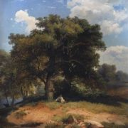 Savrasov. Landscape with oak trees and shepherd