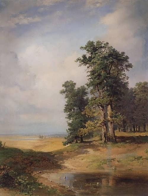 Savrasov. Summer landscape with oak trees