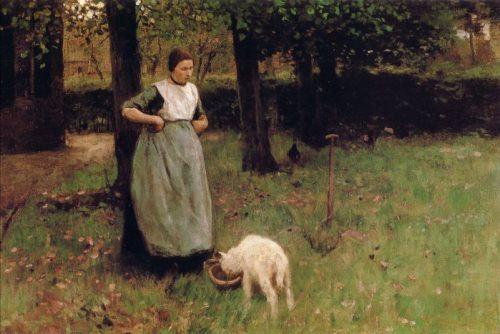 Anton Mauve. Vrouw met geitje in Laren