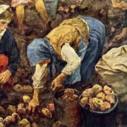 Arkady Plastov. Picking potatoes. 1956