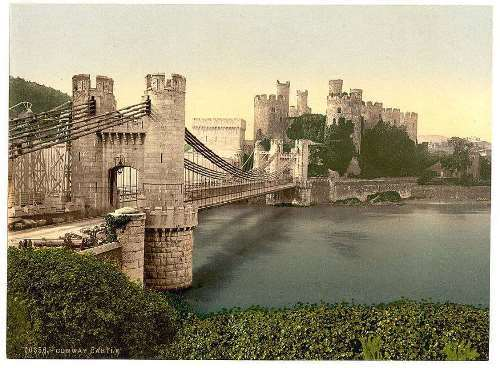 Castle and suspension bridge, Conway, Wales