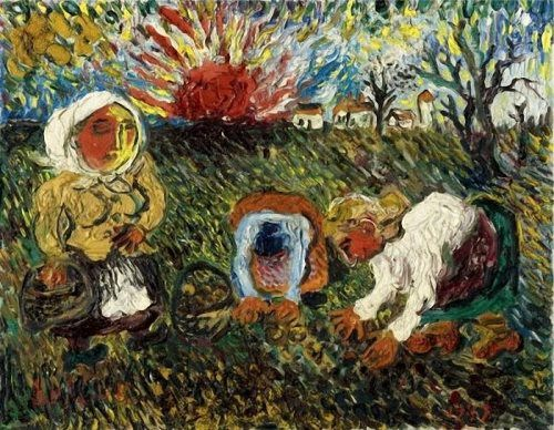 David Burliuk. Peasants picking potatoes. 1947