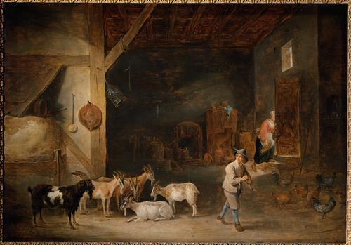 David Teniers the Younger. Barn with goats