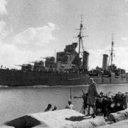 English light cruiser passes the Suez Canal