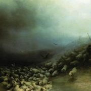 Flock of sheep in a storm. Aivazovsky