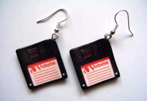 Floppy disk earrings
