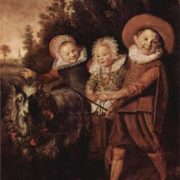 Frans Hals. Three childeren with a goat cart