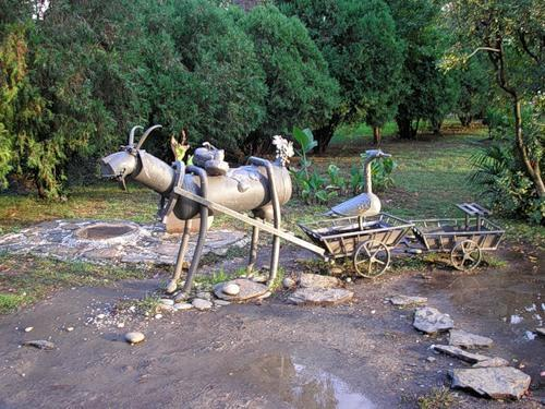 Goat and ostriches in Sochi. Sculpture by A. Khalafyan