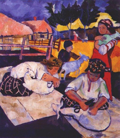 Goncharova Natalia. Sheep shearing, 1907