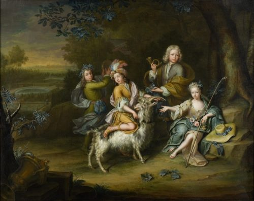 Hieronymus van der Mij. Children in hunting clothes with goat
