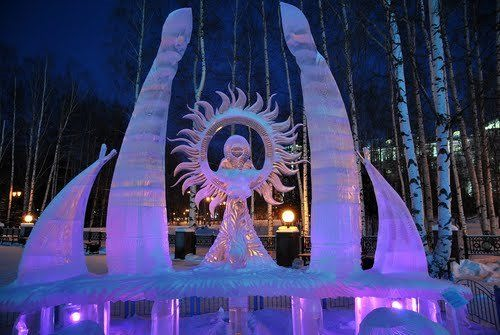 Ice sculpture in Khanty-Mansiysk, Russia