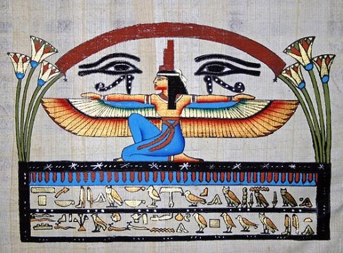 Isis, Goddess of Wisdom and Two Eyes of the God of Horus