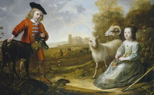 Jacob Gerritszoon Cuyp. A Boy and a Girl with Animals in a Landscape