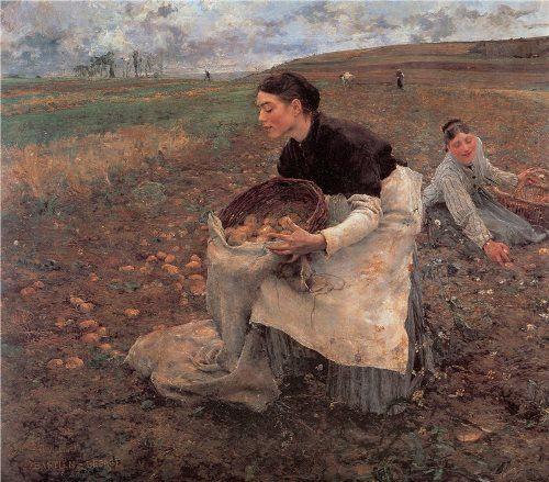 Jules Bastien-Lepage. Saison d'Octobre. Recolte des Pommes deTerre. 1878