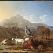 Karel Dujardin. Italiaans landschap met geitenmelkster