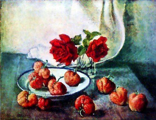 Mashkov Ilya Ivanovich. Roses and strawberries. 1941