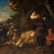 Melchior d'Hondecoeter. Poultry Yard with Goats
