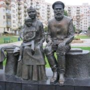 Monument to Grandma and Grandpa in Belaya Kalitva, Rostov Region, Russia