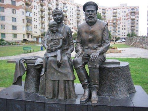 Monument to Grandma and Grandpa in Belaya Kalitva, Rostov Region, Russia