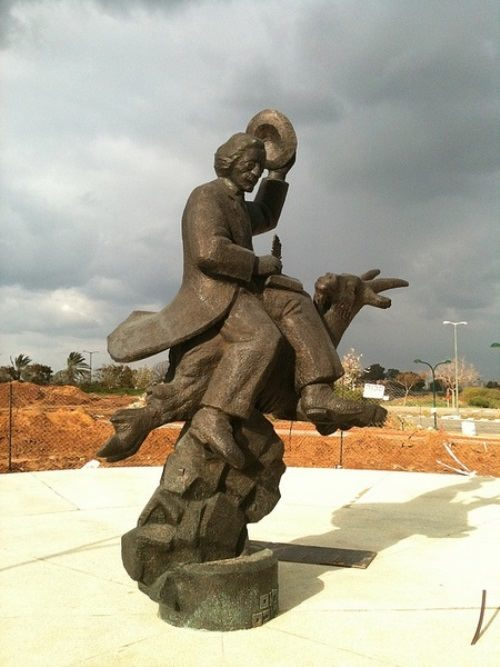 Monument to Sholem Aleichem flying on a goat