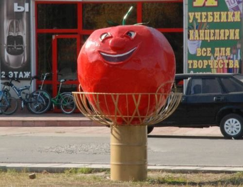 Monument to a tomato in Minusinsk, Krasnoyarsk Territory, Russia