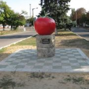 Monument to a tomato in Zaporozhye region, Ukraine