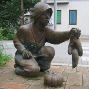 Monument to sweet potato and pumpkin in Urawa, Japan