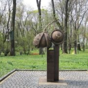 Monument to walnut in Kiev, Ukraine