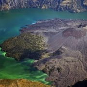 Mount Rinjani. This place is called the volcano in the lake or the lake in the volcano