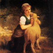 Munier, Emile - Young Girl with Lamb