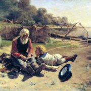 N.G. Bogdanov. A fisherman with a boy