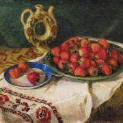 Nesukay Vera Yakovlevna. Still-life with strawberries, 1950s