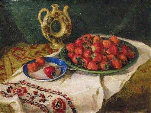 Nesukay Vera Yakovlevna. Still-life with strawberries, 1950s