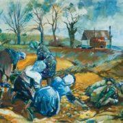 Phyllis May Reynette James. Potato Pickers near Melton, Leicestershireby.