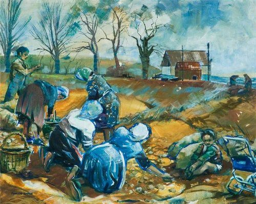 Phyllis May Reynette James. Potato Pickers near Melton, Leicestershireby.