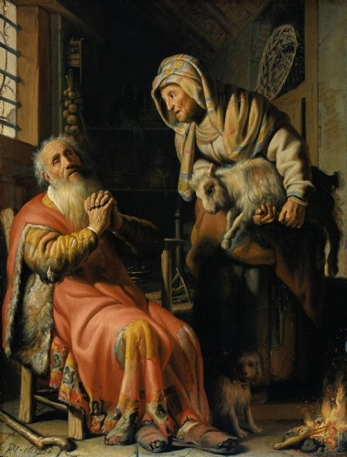 Rembrandt van Rijn. Tobit blames Anna for stealing a kid