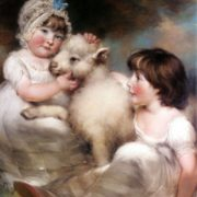 Russell John - Portrait Of Miss E And Miss L Earle With A Lamb