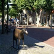 Sculpture of goat in Oost-Vlyland, Netherlands