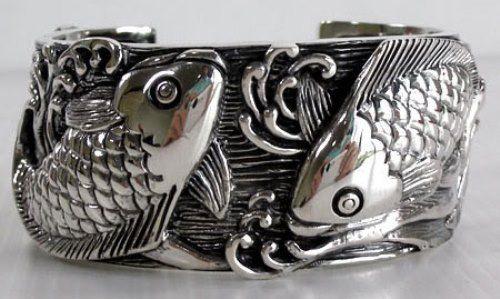 Silver bracelet koi carp. Bikerringshop