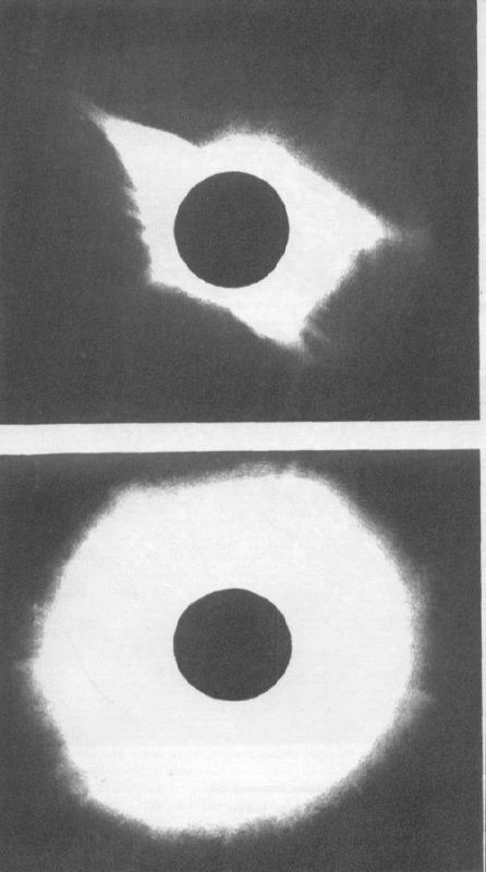 Solar corona in the period of minimum sunspots (top) and maximum sunspots (bottom)