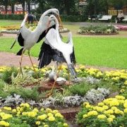 Two Storks on a Flowerbed at AllRussian Exhibition Center