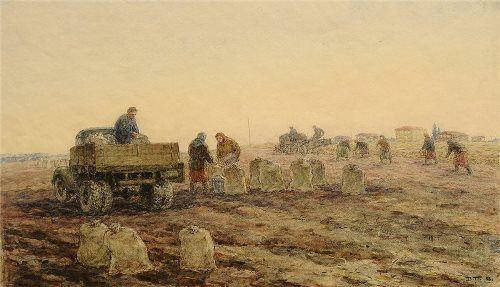 Valentin Polyakov. Picking potatoes. 1953