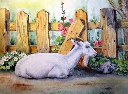 Valevskaya Valentina. Goat under the fence