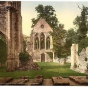 Valle Crucis Abbey, interior looking west, Llangollen, Wales