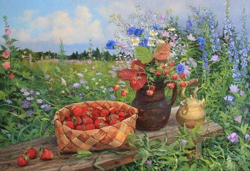 Vladimir Zhdanov. Strawberries, flowers and berries