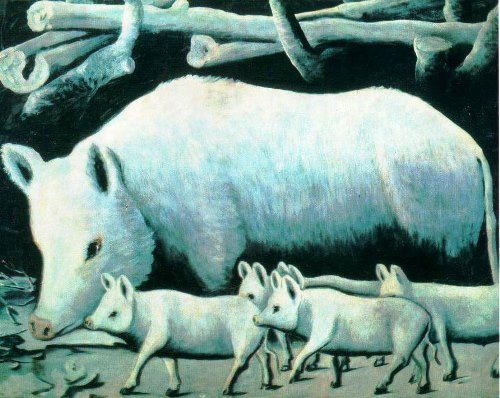 White pig with piglets. Pirosmani Pirosmanishvili